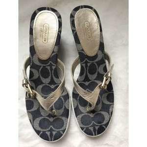 Coach Pristine Patchwork Style Wedge Sandals Sz 9B
